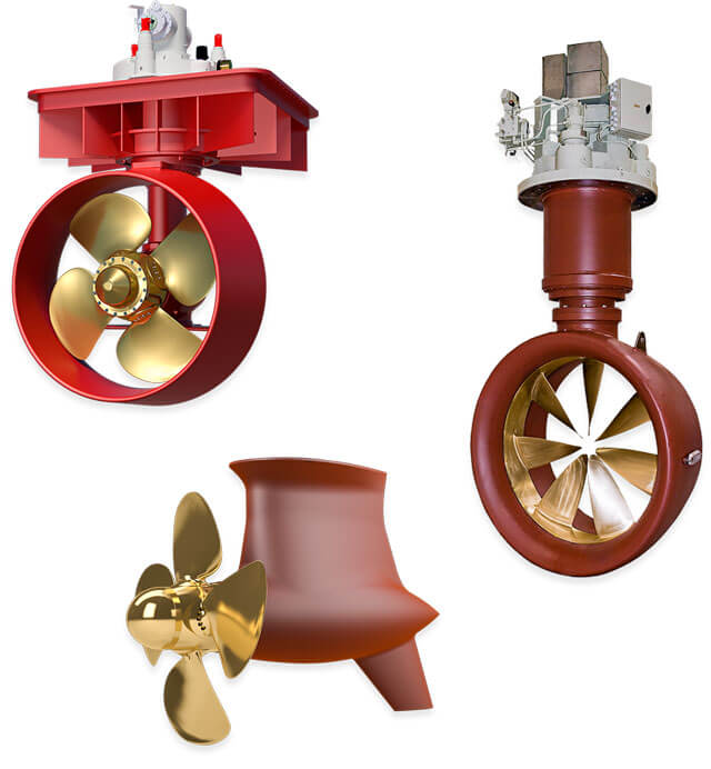 Graphics: Azimuth Thrusters (Push Ducted, Pull Open and Rim Driven)